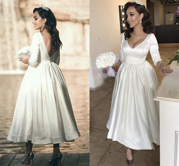 Wedding Dress Three Quarter Sleeves Open Back Bride Dress Simple Vestidos de novia