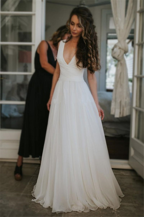White Summer Chiffon V Neck Boho Bridal Dress robes de marié