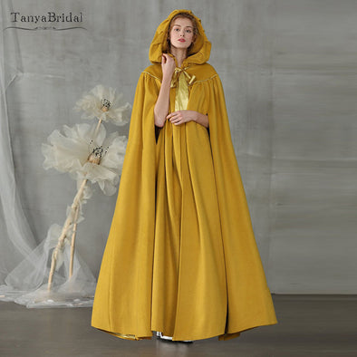 Gold Wedding Cloak Bridal Cape Hooded Cloak cape Maxi Long Elegant Shawl