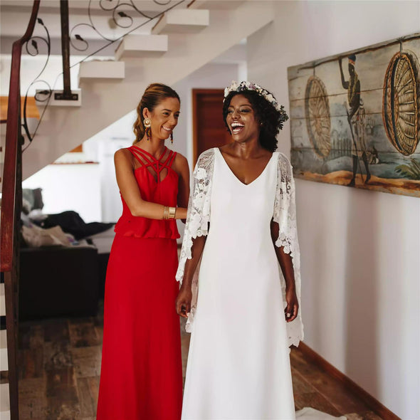 African A Line Wedding Dresses with Lace Wrap
