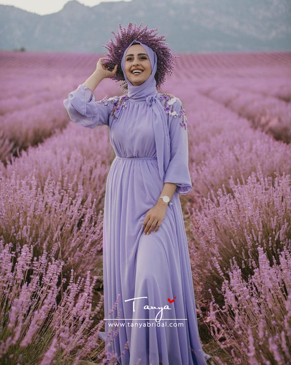 Lavender Long Sleeves A Line Chiffon Muslim Wedding Dresses DQG1110