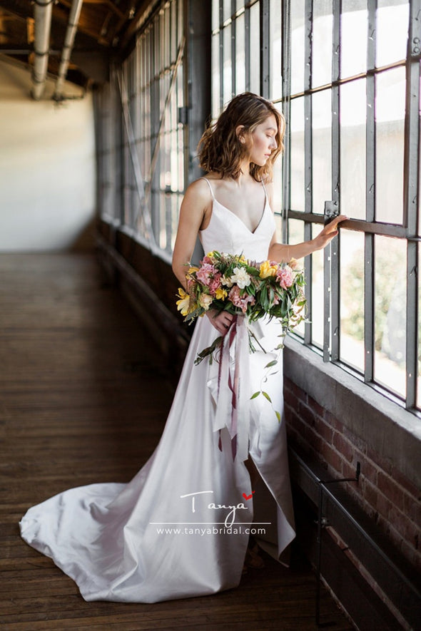 Elegant Simple Satin Wedding Dresses High Split