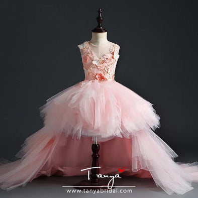 Girl Wedding Party Flower Girl Dresses Pink Tulle Trailing Princess Gown Beaded Floral Girl Pageant First Communion Dress