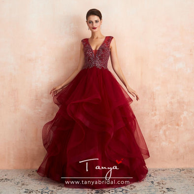 Ball Gown Burgundy Long Prom Dresses New Style Tiered Evening Formal Gown SPF007