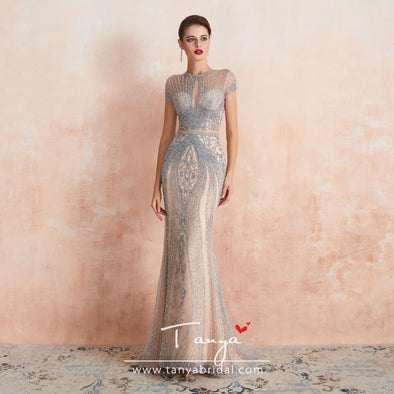 Champagne Beading Luxury Evening Dresses Mermaid Floor Length Elegant Lady Formal Gowns SPF004