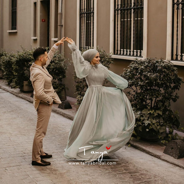 Light Green Muslim Wedding Dresses Long Sleeves A Line Chiffon Bridal Dress DQG1111