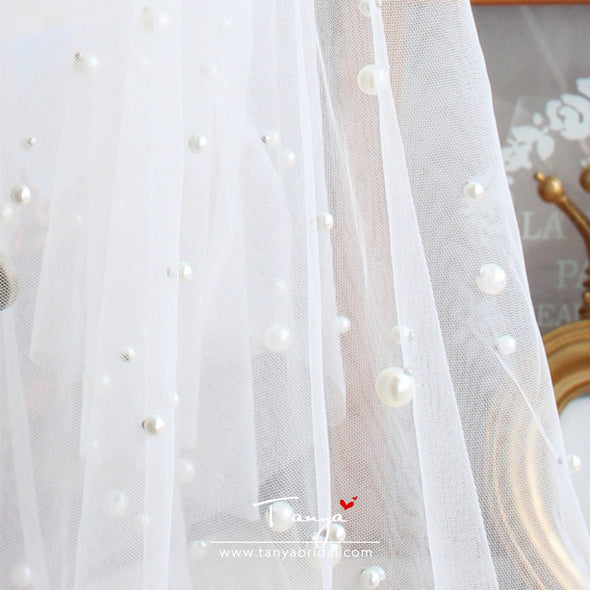 New Pearl Wedding Veils For Bride 100-135cm Length