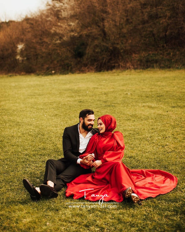 Red Muslim Wedding Dress Satin A Line Bridal Dress Gown With Train DQG1116