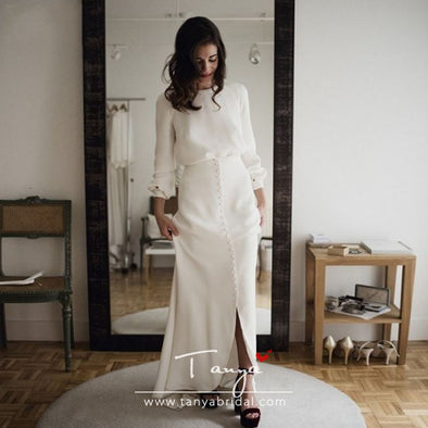 Simplicity Long Sleeve Wedding Dresses Amazing Button Vestidos De Noiva Bohemian Bridal Gowns France robe de mariee ZP015