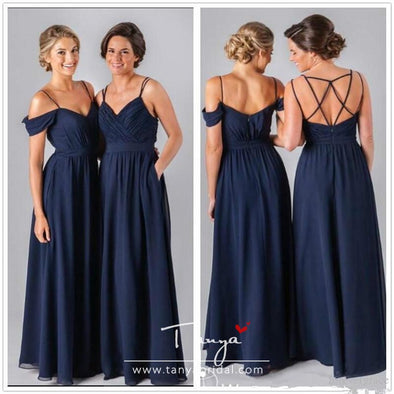 Elegant Cheap Navy Blue Chiffon Bridesmaid Dress Summer Boho V-neck Backless Maid of Honor Dress Wedding Guest Gown Custom Made Plus Size
