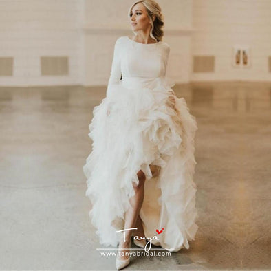 Modest High Low Wedding Dresses robe de mariee Long Sleeve Wedding Gowns Ruffle Organza Open Back Bridal Dress