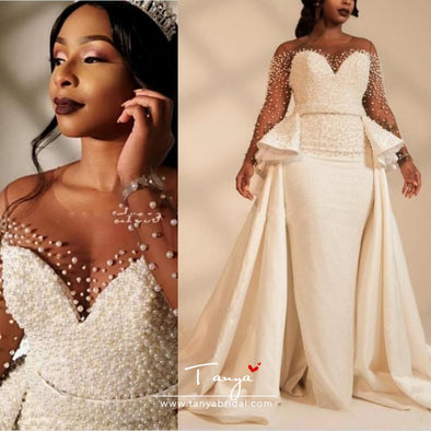 African Mermaid Wedding Dresses Overskirts Garden Country Bridal Gowns