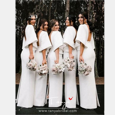 White Sheath Bridesmaid Dresses V Neck Backless Flat Sleeve Floor Length Back Split Garden Country Wedding Guest Gowns