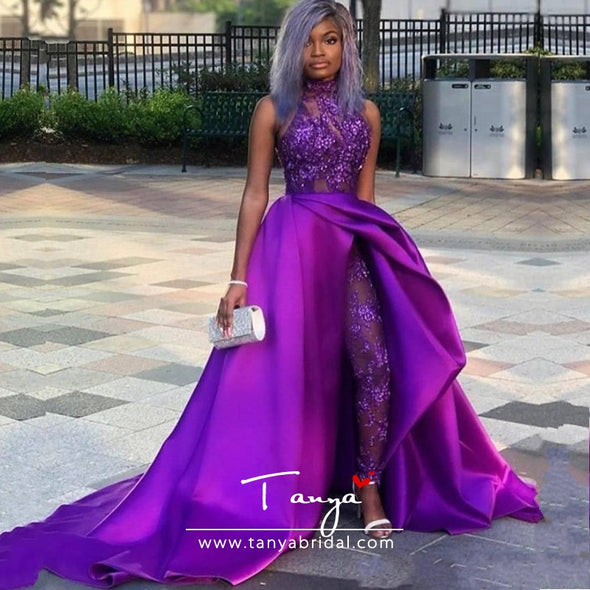 Prom Dresses With Detachable Train High Neck Lace Appliqued Bead