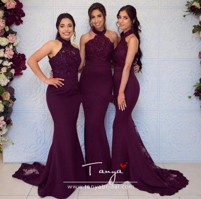 burgundy bridesmaid dresses Lace Appliques Illusion Halter neck Mermaid Zipper Back Floor Length Formal Wedding Party Prom Dress Evening