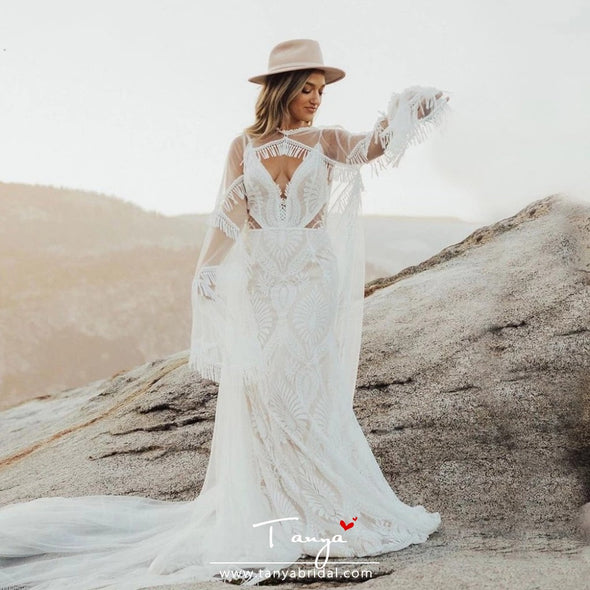 Bohemian Lace Mermaid Wedding Dresses With Detachable Cape DW459