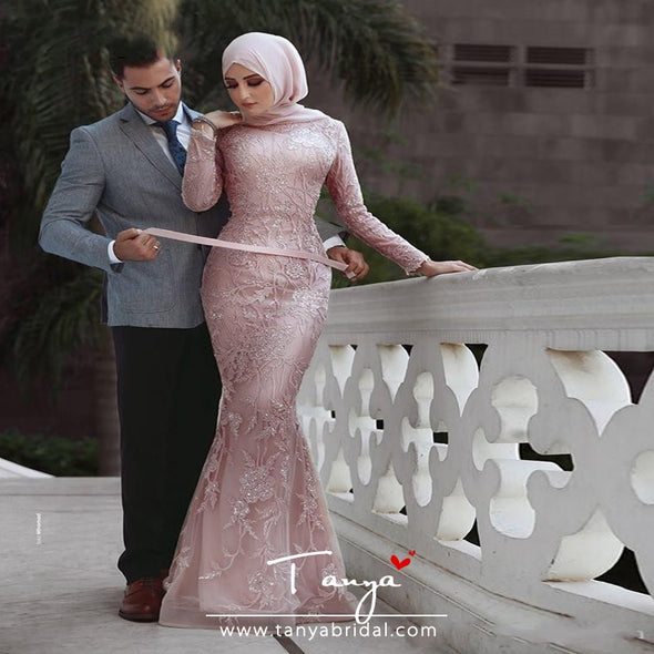 Mermaid Long Sleeves Pink Lace Muslim Wedding Dresses TBW33