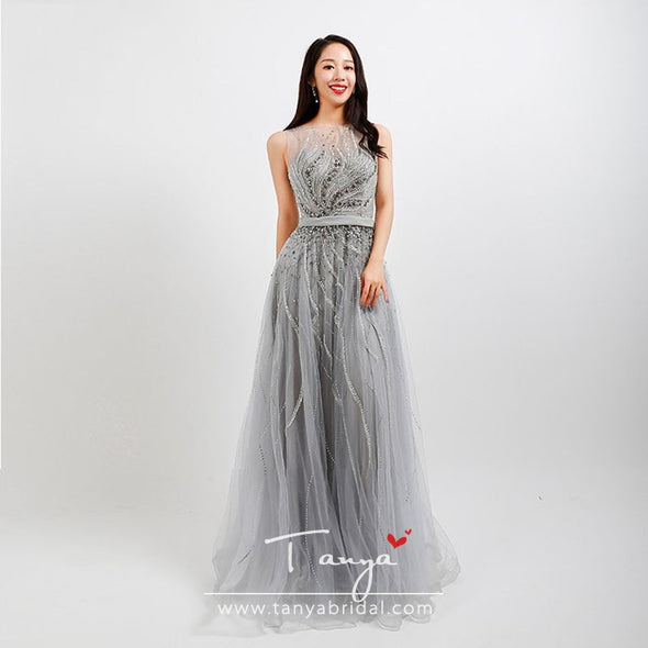 silver Beads evening dresses Sheer Neck A Line From Dresses Luxury Special Occasion Gown ZE106