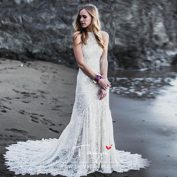 Jewel Mermaid Lace Wedding Dresses Lace Up Dreamy Romantic Bridal Gowns Robe De Soriee Chic Boho Noivas ZW223
