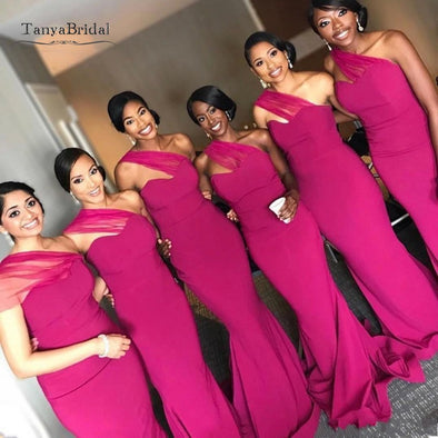 Black Gilrs Mermaid Fuschia Bridesmaid Dresses One Shoulder Floor Length Evening Gowns Maid Of Honors Dresses