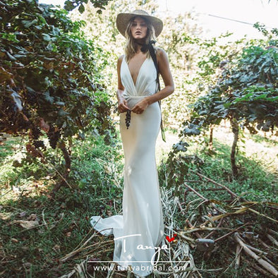 Mermaid Boho Backless Wedding Gowns TBW09