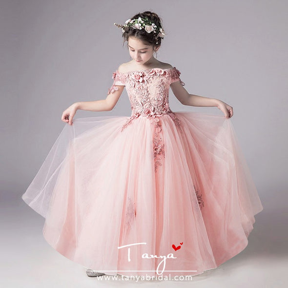 Wedding Flower Girl Dress Dusty Pink Princess Party Pageant Formal Dress TBF04