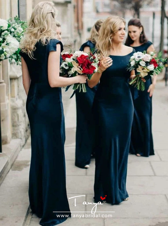 Sheath Scoop Sleeveless Navy Blue Velvet Bridesmaid Dress