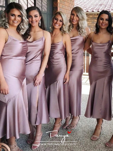 Sheath Spaghetti Straps Lilac Silk Satin Bridesmaid Dress with Split