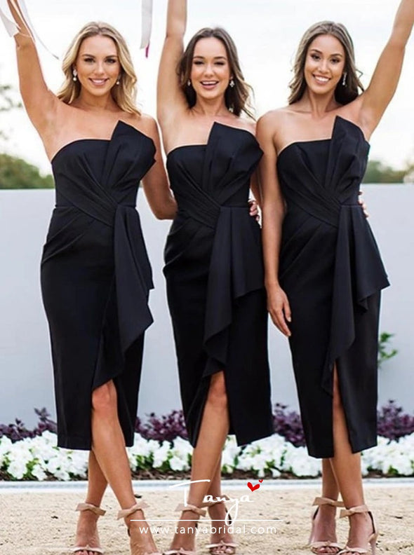 Sheath Strapless Black Satin Bridesmaid Dress with Ruffles Split