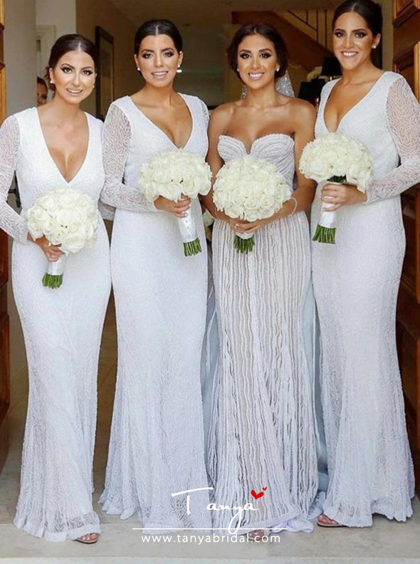 Sheath V-Neck Long White Lace Bridesmaid Dress with Sleeves