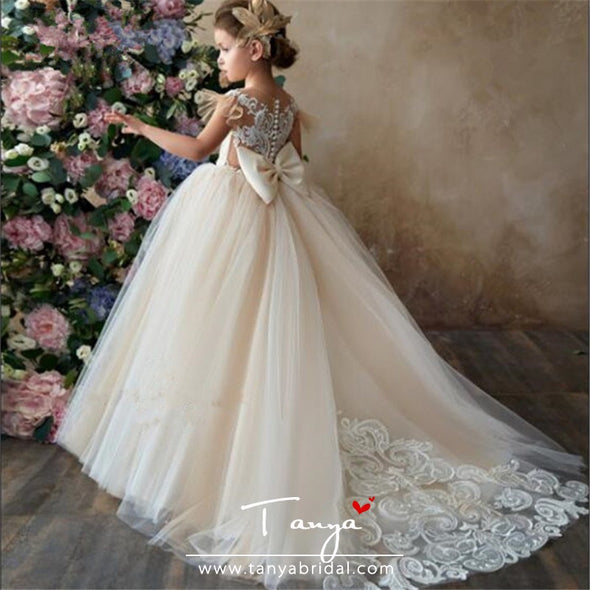 Flower Girl Dress Champagne Ivory Puffy Wedding party Dress TBF013