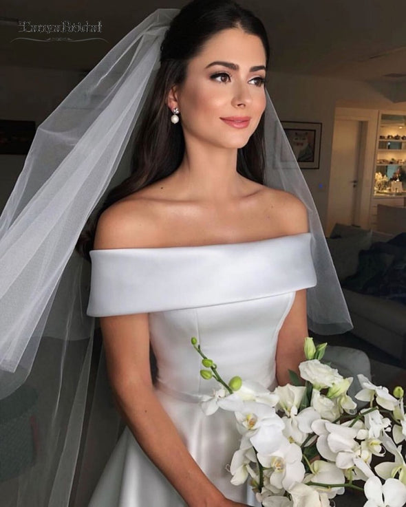 TANYA A Line Wedding Dresses Off The Shoulder Satin Vintage Simple Wedding Gown vestidos de novia 2019 DQG888