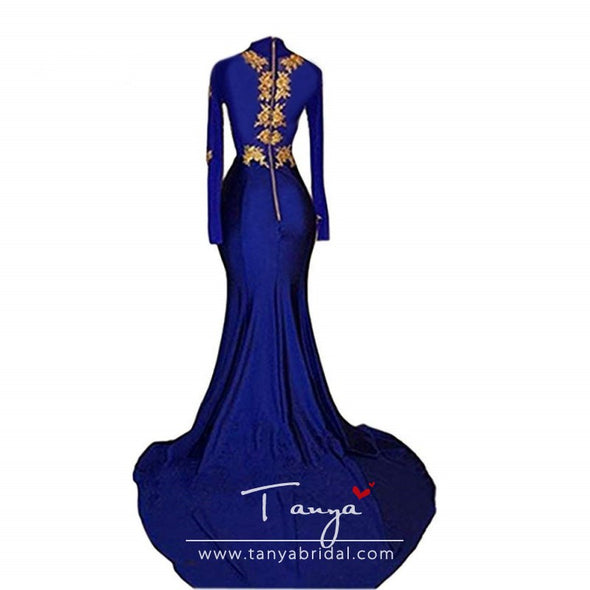 Women's Mermaid High Neck Prom Dress Gold Applique Long Sleeves Split Evening Gowns Royal Blue Sweep Train Prom Dresses