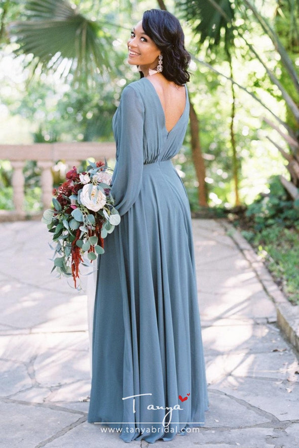 Elegant Cheap Simple A Line Bridesmaid Dresses Chiffon Deep V Neck Pleats Floor Length Maid of Honor Dress Wedding Guest Dress Custom