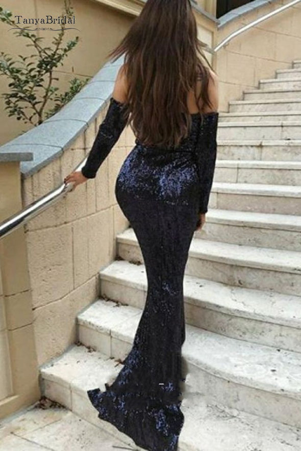 V Neck Long Sleeves Mermaid Evening Dresses Navy Blue Formal Gown