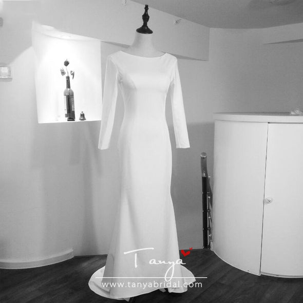 Ivory Mermaid Simple Wedding Dresses Fashion Jewel Long Sleeve Backless Bridal Beach Bohemian Gowns ZW007