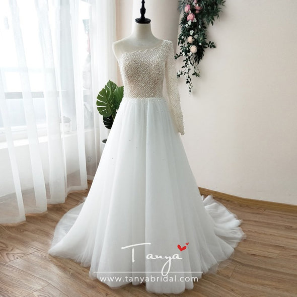 One Shoulder pearls Wedding Dress Tulle Skirts Luxury Bridal Gowns robe de marrige Noivas ZW023