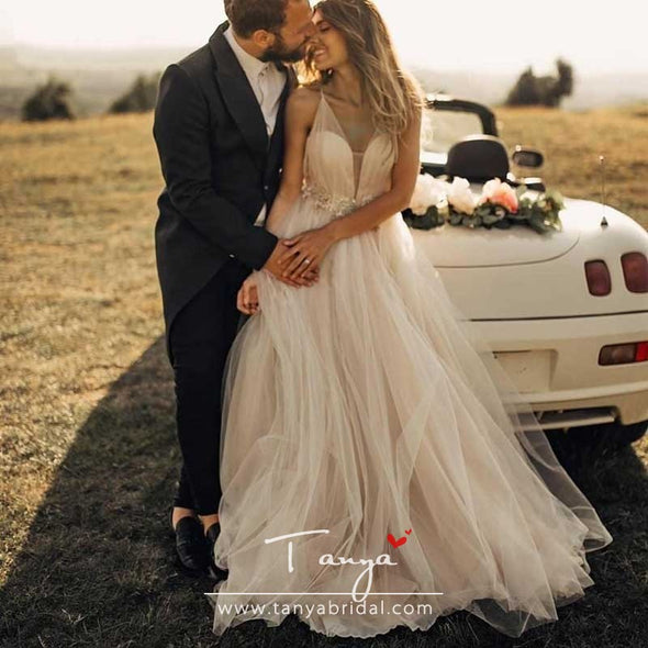 Bohemian Wedding Dresses Tulle Deep V Beads Backless Beach Boho Elegant Country Style Bridal Gowns Nude Dress DQG864