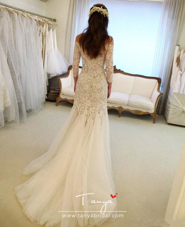 Elegant Mermaid Lace Wedding Dresses Sheer Bateau Neck Long Sleeves Bridal Gowns Sweep Train Plus Size robes de mariée