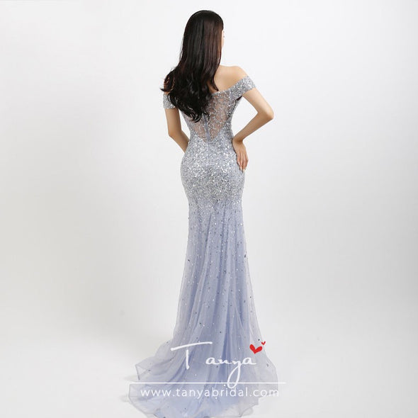 Sparkly crystal bead evening dresses Mermaid gorgeous women prom dress real picture ZE105