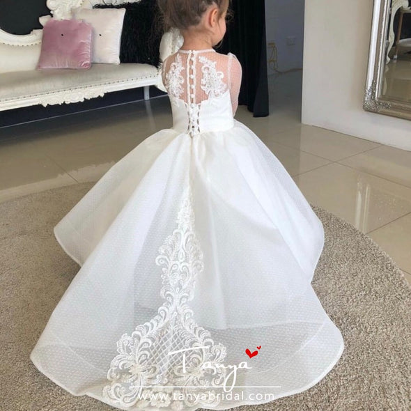 Ivory Lace Flower Girl Dresses Tulle AppliquesTBF015