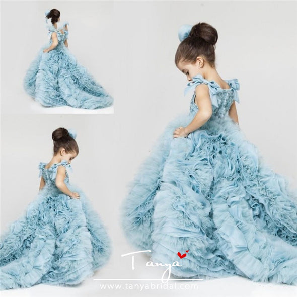 New Pretty Flower Girls Dresses Ruched Tiered Ice Blue Puffy Girl Dresses for Wedding Party  TBF028