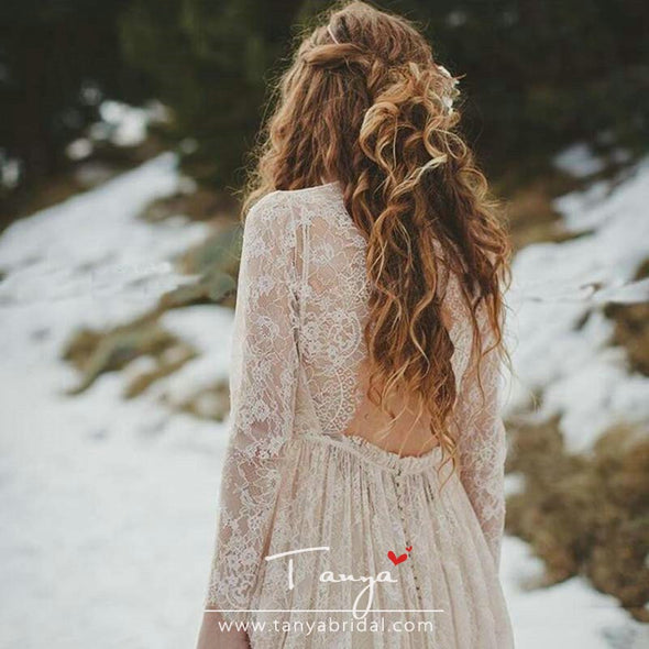 Romantic Champagne Long Sleeve Full Lace Bohemian Wedding Dresses Vintage O-Neck Open Back Boho Country Bridal Wedding Dress