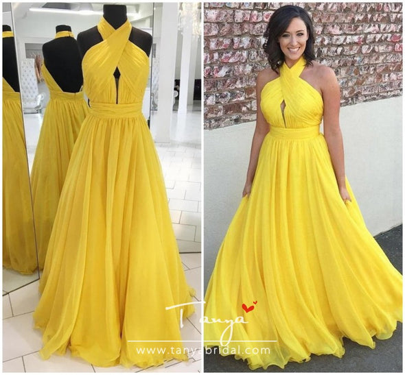 Bridesmaid Dresses Yellow Chiffon for Junior Wedding Party Guest Gown Maid of Honor Halter Backless Custom made