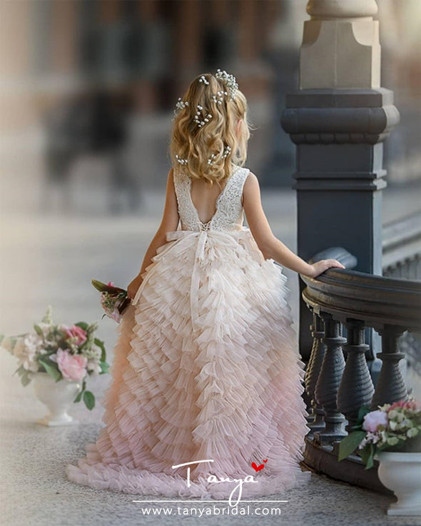 Tiered Tulle Princess Dress Custom Made Flower Girl Dress For Wedding TBF023