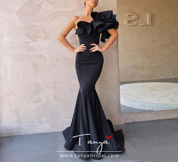 Red Mermaid Prom Dresses Long 2020 Ruffles Zipper One-Shoulder Plus Size Evening Dress Formal Gowns Vestidos De Festa