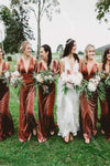 Velvet Bohemian Bridesmaid Dresses 2020 Sexy V-neck Backless Country Style