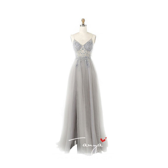 V-neck Evening Dresses a Line elegant prom dress women special occasion gowns ZE108