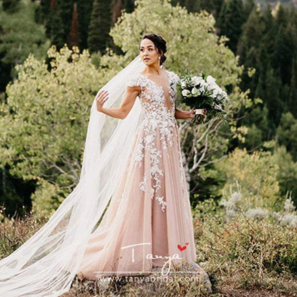 Dusty Rose Lace Wedding Dresses A Line Tulle Dramatic Bohemian Bridal Gowns MOUNTAIN FAIRY Vestido De Noivas ZW235