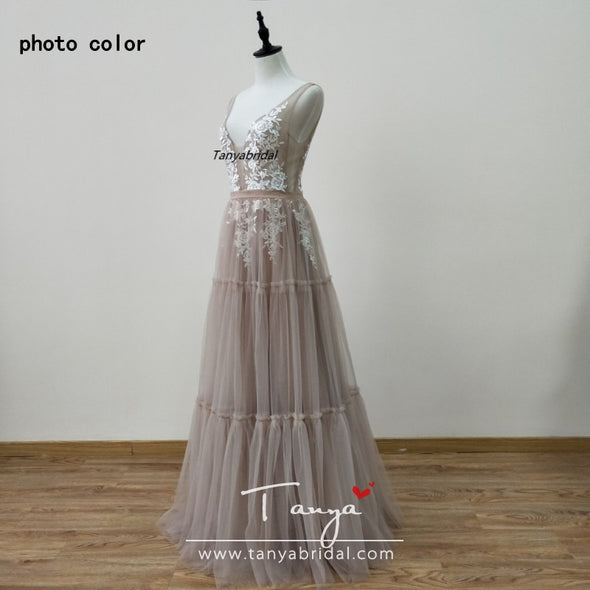 Deep V-Neck Nude Champagne Tulle Boho Wedding Dresses ZW111